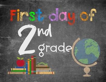 First Day of School (chalkboard rainbow)