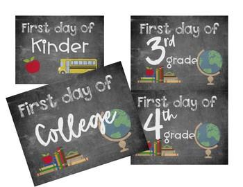 First Day of School (chalkboard white)