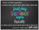 First Day of School Chalkboard Signs BUNDLE {Preschool - 8th Grade}