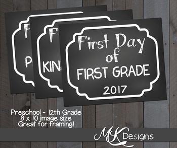 First Day of School Chalkboard Signs ~ Prek through 12th grade!!