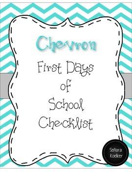 First Day of School Checklist Chevron