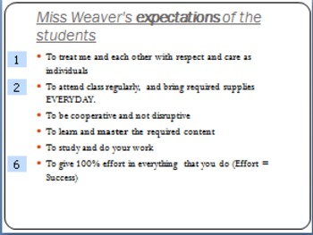 Student Expectations and Suggestions for Success - Classroom Management PPT