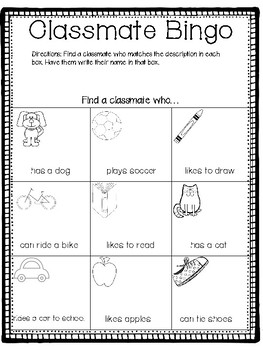 First Day of School Classmate Bingo FREEBIE + Free Spanish Version