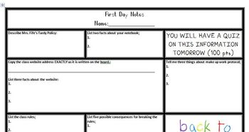 First Day of School Classroom Notes