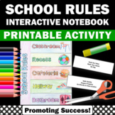 School Rules Activity, Back to School Interactive Notebook