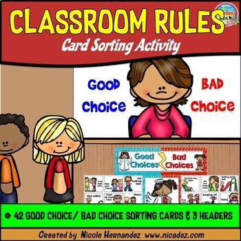 classroom rules first week of school sorting activity good choice bad choice. Black Bedroom Furniture Sets. Home Design Ideas