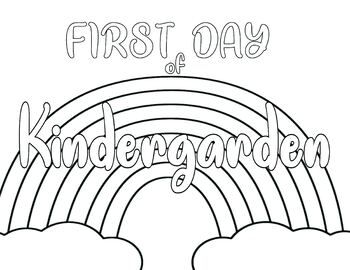 First Day of School Colorable Sign Worksheet Rainbow