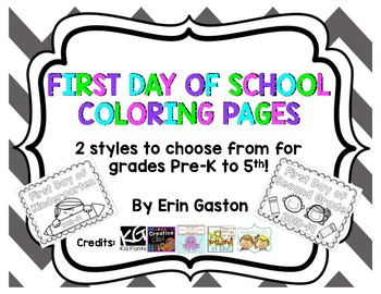 Updated! First Day of School Coloring Sheet