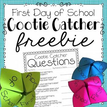 First Day of School Cootie Catcher