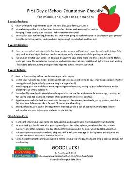 First Day of School Countdown Checklist
