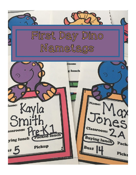 First Day of School Dino Nametags