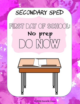 First Day of School Do Now - Secondary SPED