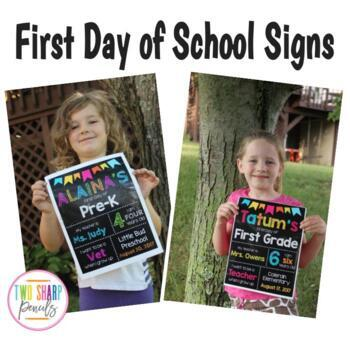 First Day of School Editable Chalkboard Sign