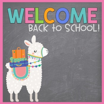 First Day of School Editable PowerPoint Llama Themed