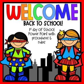 first day of school editable powerpoint superhero themed by