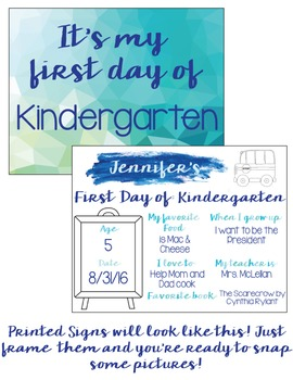 First Day of School Editable Sign {Blue + Green Watercolor}
