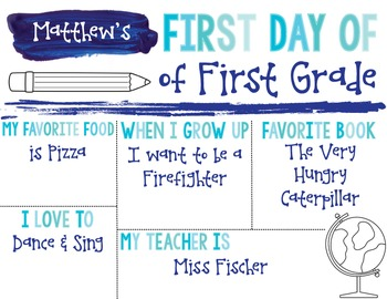 First Day of School Editable Sign {Blue Watercolor}