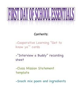 First Day of School Essentials