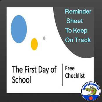 First Day of School FREE Checklist