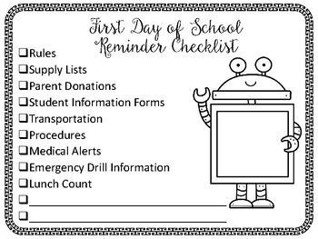 First Day of School FREE Checklist
