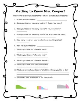 First Day of School FREEBIE- Getting to know the teacher