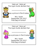 First Day of School Fairytale Certificate