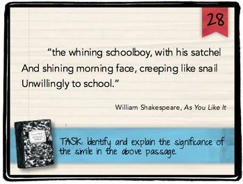 First Day of School Figurative Language Task Cards: Back to School Activity