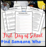 First Day of School Find Someone Who Activity Sheet