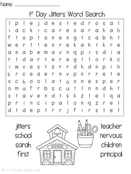 First Day of School Activities / First Day Jitters