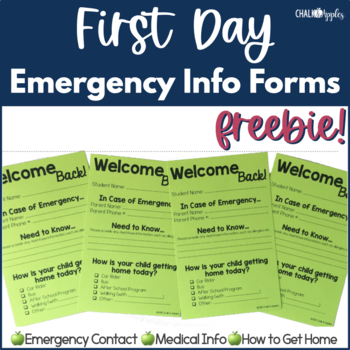 FREE First Day of School Emergency Info Form