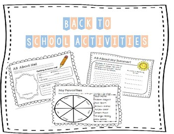 First Day of School Fun Activity/Back to School No Prep