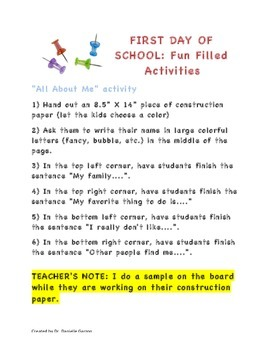 First Day of School Fun Filled Activities