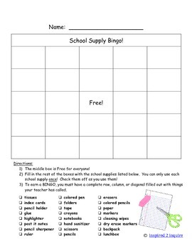 First Day of School Fun:  School Supply Bingo