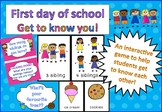 First Day of School Get To Know You Ice Breaker K-6