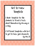 First Day of School Get to Know Template