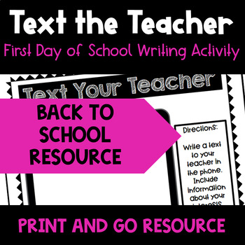 First Day of School - Get to Know You Writing Assignment