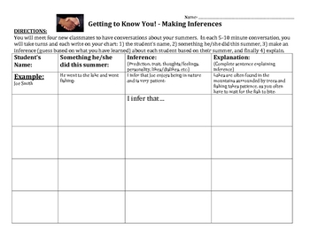 First Day of School - Get to Know You with Inferences! Worksheet