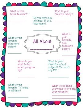First Day of School: Get to Know Your Students