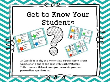 First Day of School Game - Get to Know you Questions -Stars