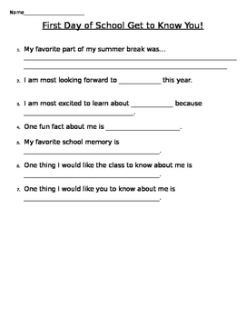 First Day of School - Get to know you