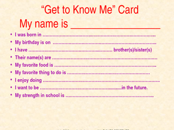 """First Day of School- """"Get to know you card"""""""