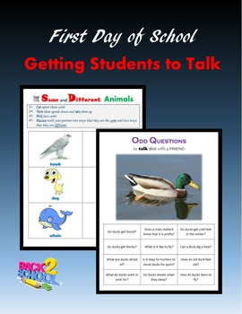 First Day of School:  Getting Students to Talk