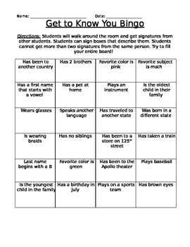 First Day of School: Getting to Know You Bingo