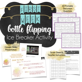 First Day of Middle School Getting to Know You Icebreaker Activity: Bottle Flip
