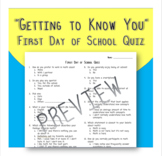 "First Day of School Math ""Getting to Know You"" Quiz"