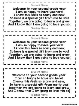 First Day of School Gift Tag Poem: K-5 Editable