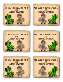 First Day of School Gift Tags (Western Theme)