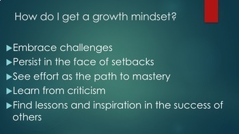 First Day of School - Growth Mindset & HW