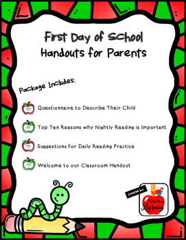 First Day of School: Handouts for Parents