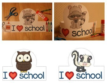First Day of School Activities / Back to School Forest Animals Hats